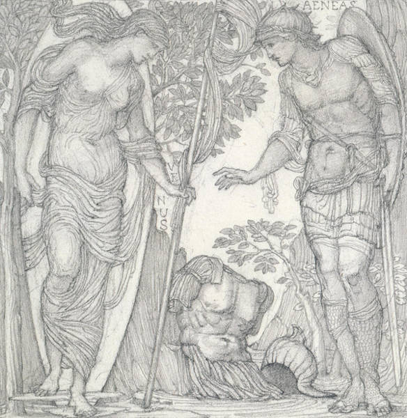 God Of War Wall Art - Drawing - Venus Bringing Armor To Aeneas by Sir Edward Coley Burne-Jones