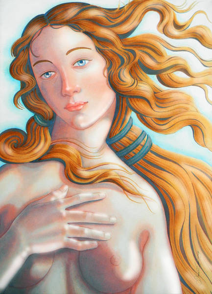 Unico Painting - V . E . N . U . S  .  Boticelli   Tribute      by J  - O   N    E