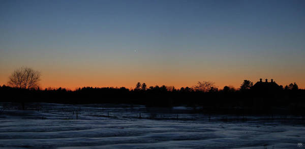 Photograph - Venus In The Twilight Over Barn by John Meader