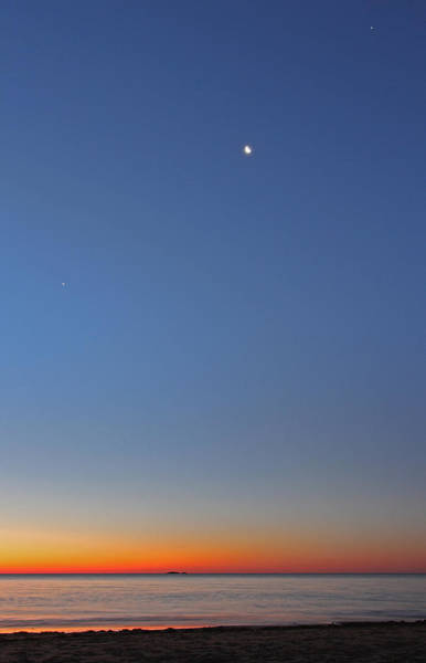 Photograph - Venus Mars Moon And Jupiter Across Singing Beach  by Juergen Roth