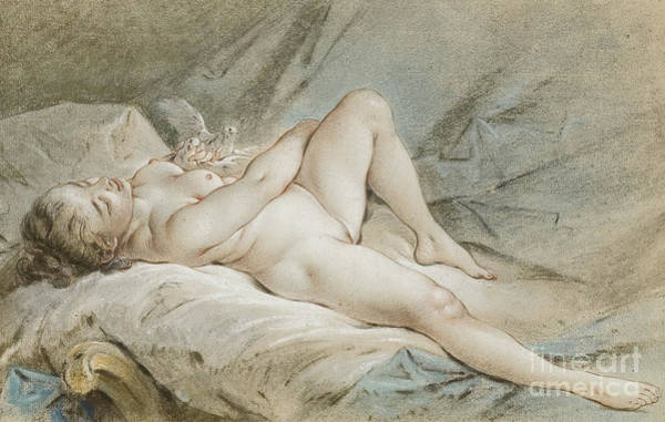Francois Boucher Painting - Venus Playing With Two Doves by Francois Boucher