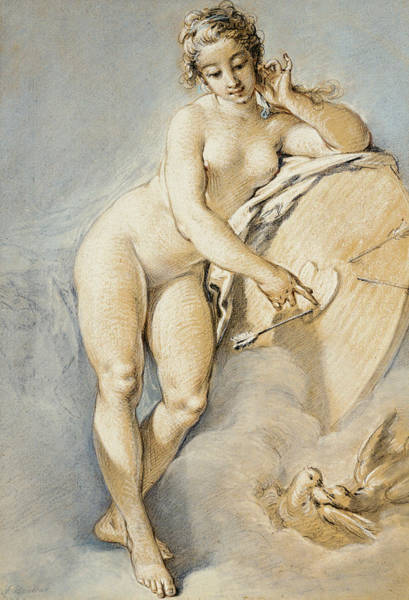 Target Drawing - Venus Standing, Gesturing Towards A Heart On A Target With Two Doves by Francois Boucher