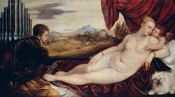 Titian Painting - Venus With The Organ Player  by Titian
