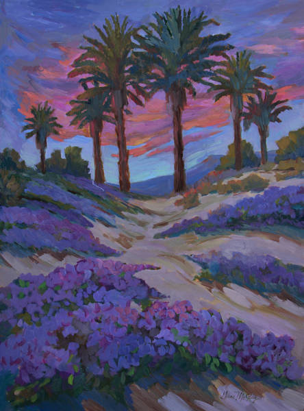 Wall Art - Painting - Verbena And Desert Sunrise by Diane McClary