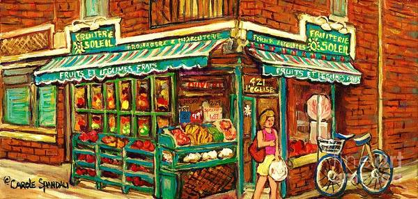 Painting - Verdun Corner Grocery Store Fruiterie Soleil Montreal Summer Scene Shopping In The City Canadian Art by Carole Spandau
