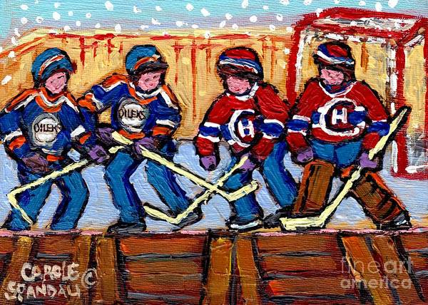 Pointe St Charles Painting - Verdun Hockey Rink Paintings Edmonton Oilers Vs Hometown Habs Quebec Hockey Art Carole Spandau       by Carole Spandau