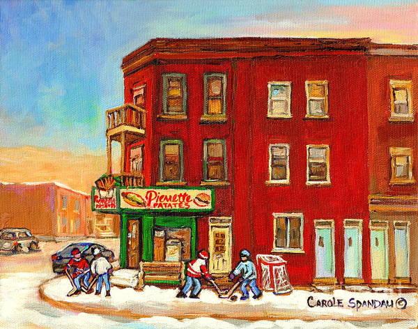Painting - Verdun Montreal Painting Pierrette Patates Winter Street Hockey Canadian Painting Carole Spandau     by Carole Spandau