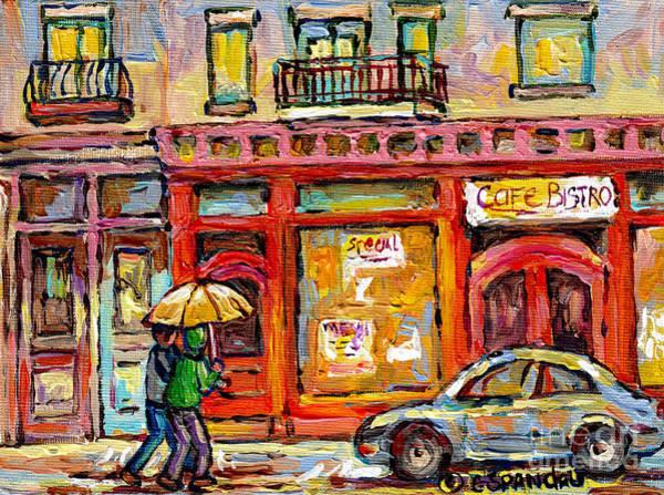 Painting - Verdun Montreal Rainy Day Wellington Street Umbrella Paintings Canadian Cityscenes C Spandau Art by Carole Spandau