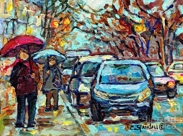 Painting - Verdun Rainy Street Scene Painting Umbrella Stroll Southwest Montreal Canadian Artist C Spandau Art  by Carole Spandau