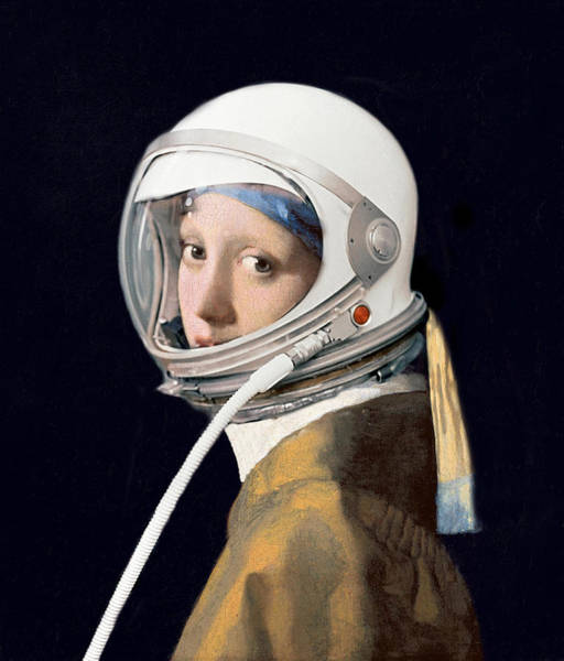 Facemask Digital Art - Vermeer - Girl In A Space Helmet by Richard Reeve