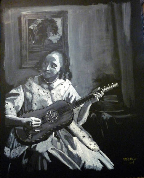 Painting - Vermeer Guitar Player by Richard Le Page