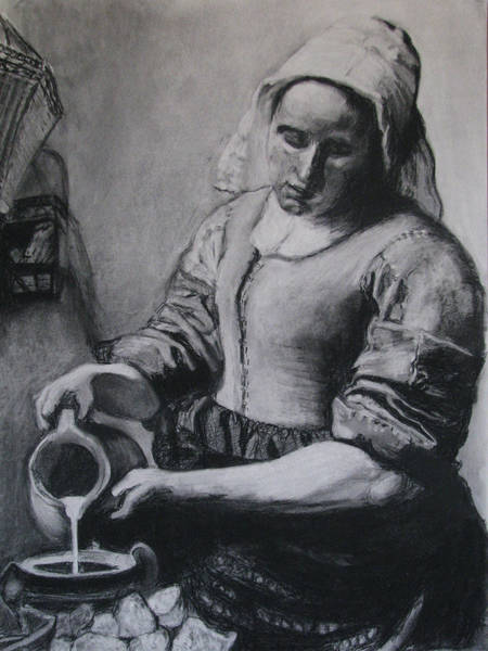 Nomad Drawing - Vermeer's Milkmaid In Charcoal by Art Nomad Sandra  Hansen