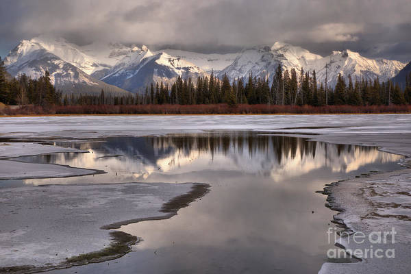 Photograph - Vermilion Lakes Reflections In The Ice by Adam Jewell