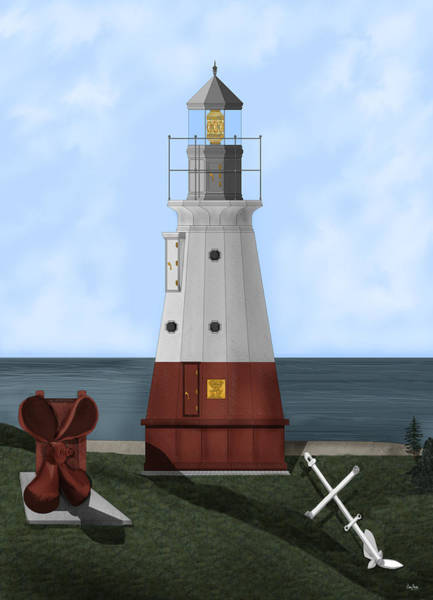 Wall Art - Painting - Vermillion River Lighthouse On Lake Erie by Anne Norskog