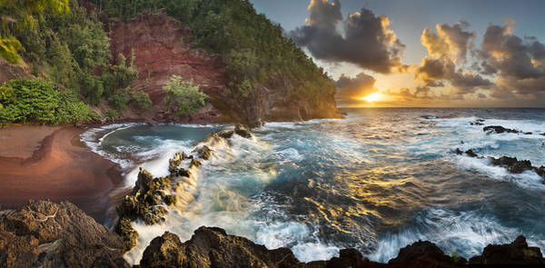 Queens Bath Photograph - Vermillion Shores Red Sand Beach Maui Hawaii Sunrise by Sun Gallery Photography Lewis Carlyle