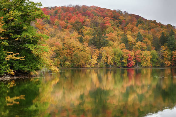 Photograph - Vermont Fall Foliage Reflected On Pogue Pond by Jeff Folger