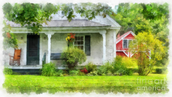 Wall Art - Digital Art - Vermont Farm House Kent Corner Watercolor by Edward Fielding