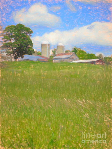 Farm Landscape Mixed Media - Vermont Farm On A Hill by Susan Lafleur