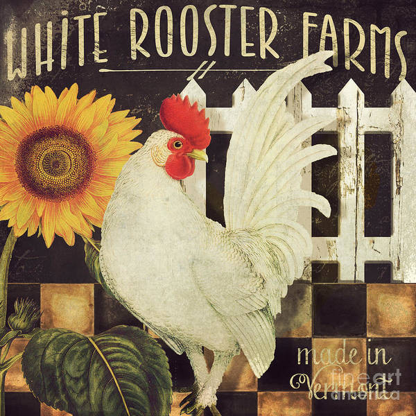 Wall Art - Painting - Vermont Farms White Rooster by Mindy Sommers