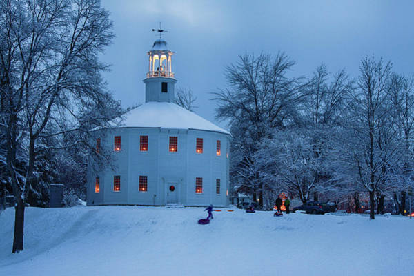 Photograph - Vermont Old Round Church Christmas by Jeff Folger
