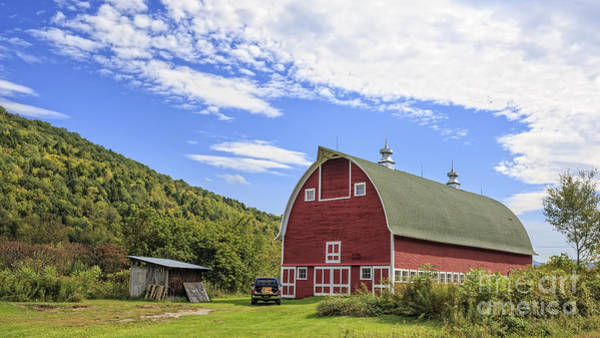 New England Barn Photograph - Vermont Red Barn Route 5 by Edward Fielding