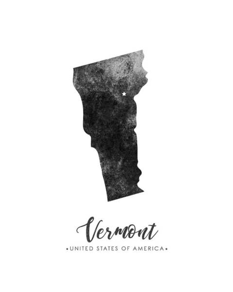 Map Of United States Mixed Media - Vermont State Map Art - Grunge Silhouette by Studio Grafiikka
