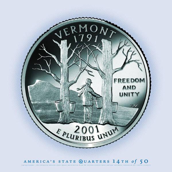 Syrup Digital Art - Vermont State Quarter - Portrait Coin 14 by Garrett Burke