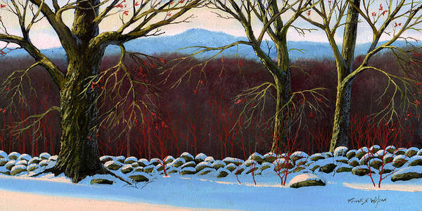 Snowscape Painting - Vermont Stone Wall by Frank Wilson