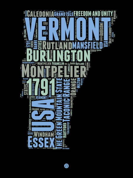 Map Art Mixed Media - Vermont Word Cloud 1 by Naxart Studio