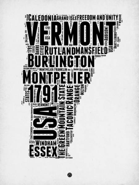 Map Art Mixed Media - Vermont Word Cloud 2 by Naxart Studio