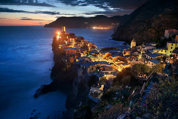 Photograph - Vernazza At Night In Cinque Terre by Songquan Deng