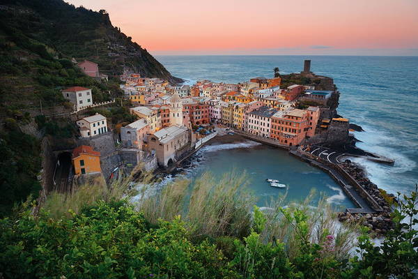 Photograph - Vernazza Bay Buildings And Sea In Cinque Terre by Songquan Deng