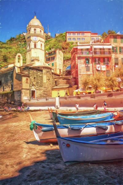 Photograph - Vernazza Boats And Church Cinque Terre Italy Painterly by Joan Carroll