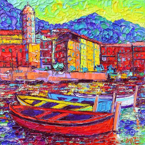 Wall Art - Painting - Vernazza Colorful Boats Cinque Terre Italy Impasto Textural Impressionist Palette Knife Oil Painting by Ana Maria Edulescu