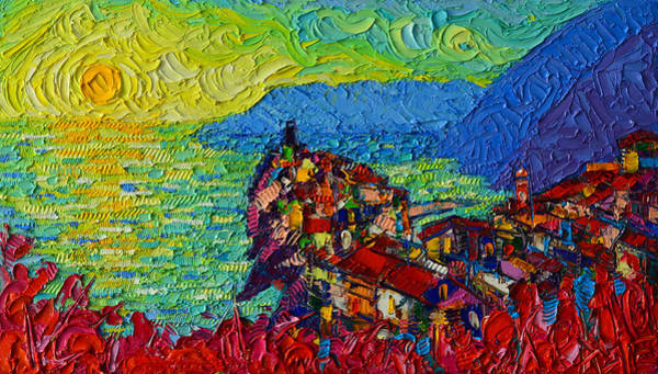 Painting - Vernazza Sunrise Cinque Terre Abstract Impressionist Palette Knife Oil Painting Ana Maria Edulescu  by Ana Maria Edulescu