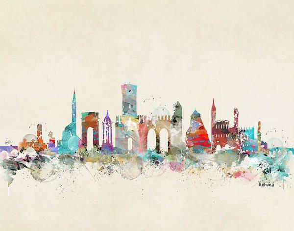 Whimsical Digital Art - Verona Italy Skyline by Bri Buckley