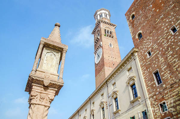 Photograph - Verona Veneto Italy Colonna Antica And Torre Dei Lamberti Seen F by Luca Lorenzelli