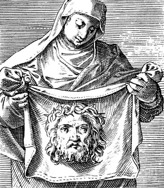 Miracle Drawing - Veronica Holding The Sudarium, 1581 by Agostino Carracci