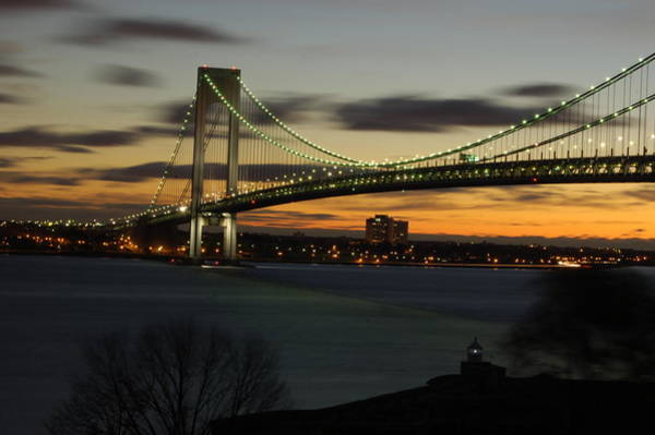Photograph - Verrazano Bridge At Dawn by Nancy De Flon