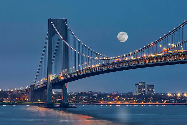 Photograph - Verrazano Narrows Bridge Moon by Susan Candelario