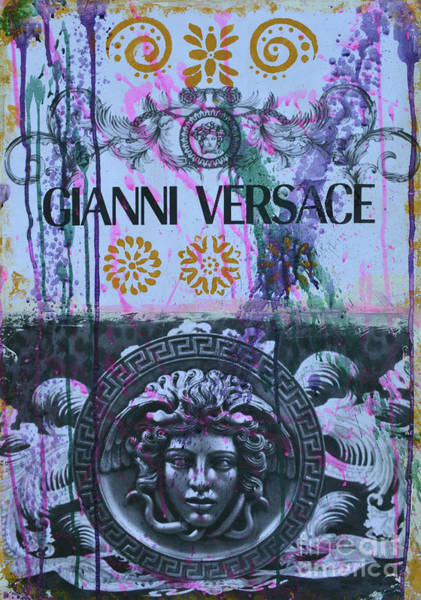 Wall Art - Mixed Media - Versace Logo 2 by To-Tam Gerwe
