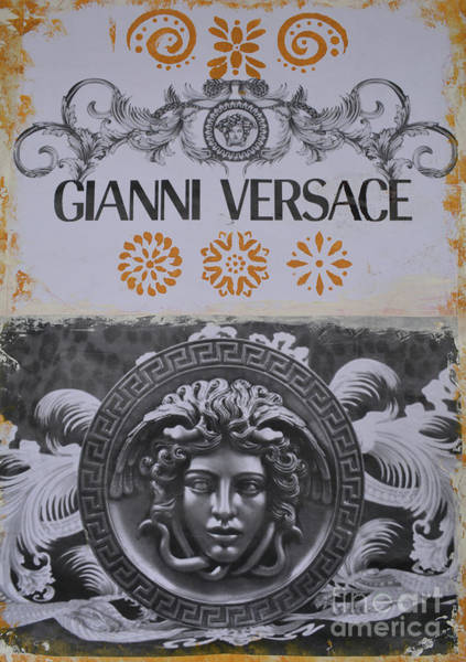 Wall Art - Mixed Media - Versace Logo by To-Tam Gerwe
