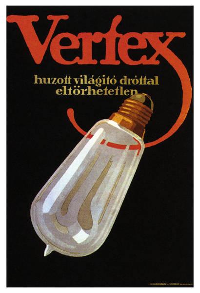 Wire Mixed Media - Vertex - Huzott Vilagito Drottal Eltorhetetlen - Vintage German Bulb Advertising Poster by Studio Grafiikka