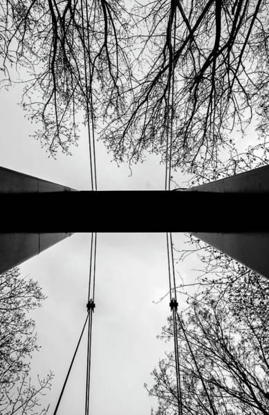 Art Print featuring the photograph Vertical Bridge In Bw by Nikos Stavrakas