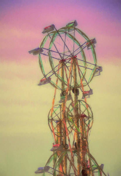 County Fair Painting - Vertical Ferris Wheel At Sunset by Dan Sproul