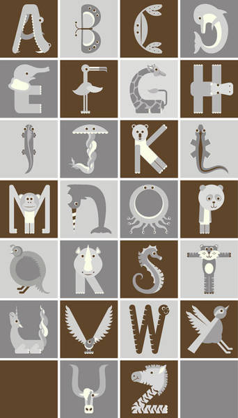 Vertical Neutral Animal Alphabet Complete Poster Art Print