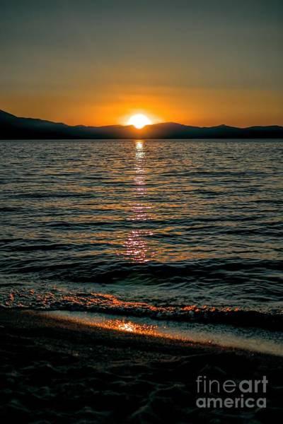Vertical Sunset Lake Art Print