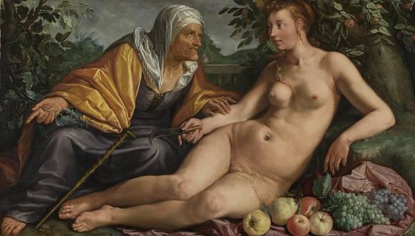 Develop Painting - Vertumnus And Pomona, 1613 by Hendrick Goltzius