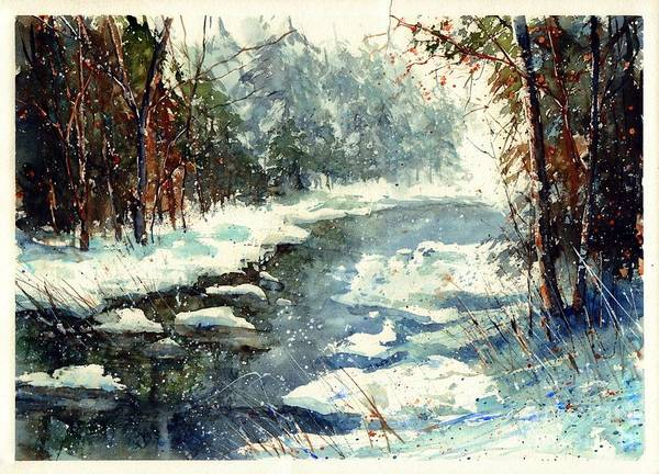 Birches Painting - Very Cold Winter Watercolor by Suzann's Art