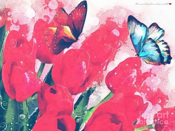 Butterfly On Flower Digital Art - Very Fairy Tale In The Mix by Catherine Lott